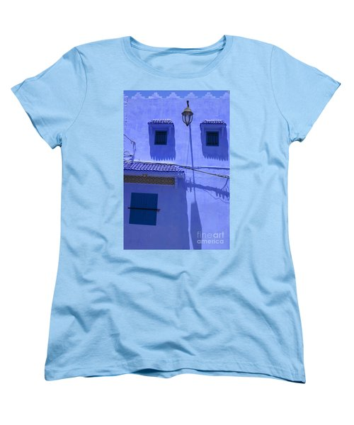 Women's T-Shirt (Standard Cut) featuring the photograph Typical Blue Facade In The Medina Of Asilah On Northwest Tip Of Atlantic Coast Of Morocco by Ralph A  Ledergerber-Photography