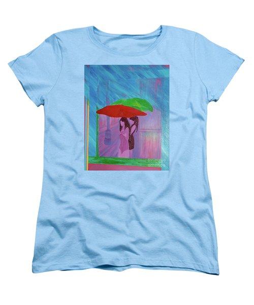 Women's T-Shirt (Standard Cut) featuring the painting Umbrella Girls by First Star Art