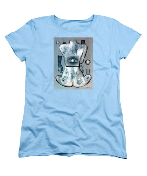 Women's T-Shirt (Standard Cut) featuring the painting Listen Via Your Eyes by Fei A