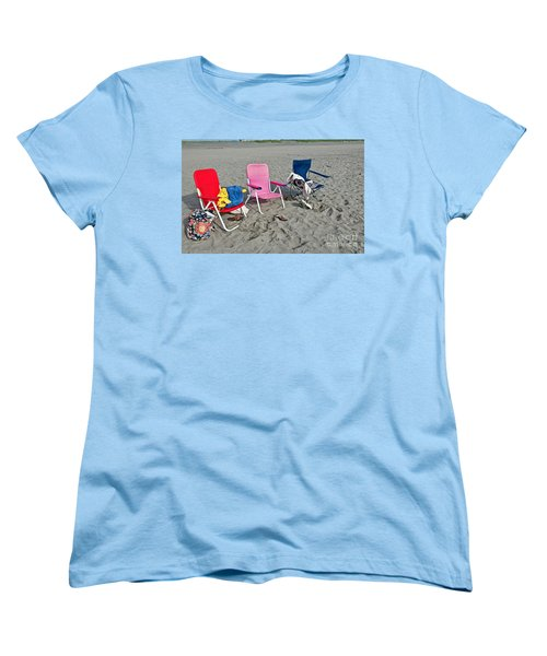 Women's T-Shirt (Standard Cut) featuring the photograph Vacation Time Beach Art Prints by Valerie Garner