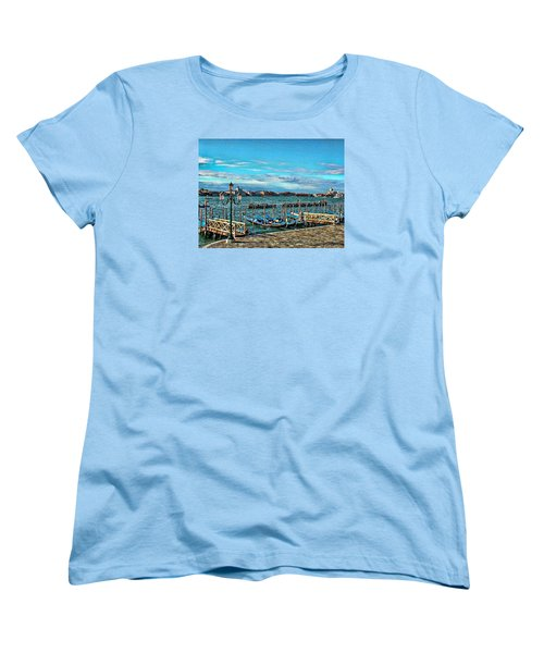Women's T-Shirt (Standard Cut) featuring the photograph Venice Gondolas On The Grand Canal by Kathy Churchman