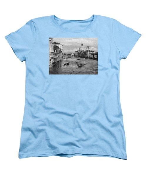 Vintage Venice Black And White Women's T-Shirt (Standard Cut) by Georgi Dimitrov