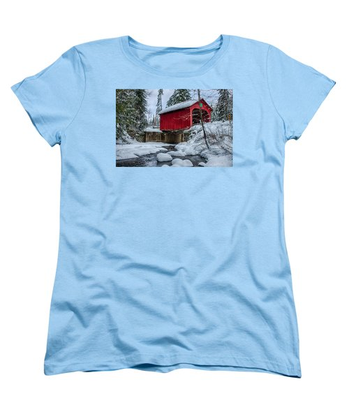 Vermonts Moseley Covered Bridge Women's T-Shirt (Standard Cut) by Jeff Folger