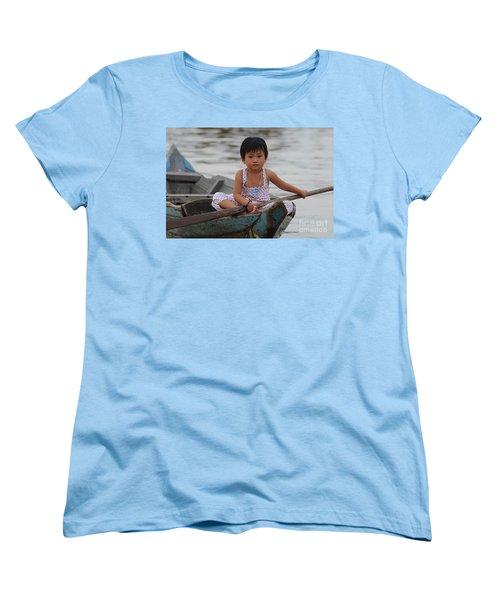 Vietnamese Girl On Lake Tonle Sap Women's T-Shirt (Standard Cut) by Vivian Christopher