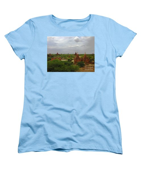Women's T-Shirt (Standard Cut) featuring the photograph View Of Smaller Temples Next To Dhammayazika Pagoda Built In 1196 By King Narapatisithu Bagan Burma by Ralph A  Ledergerber-Photography