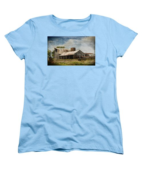 Barn -vintage Barn With Brick Silo - Luther Fine Art Women's T-Shirt (Standard Cut) by Luther Fine Art