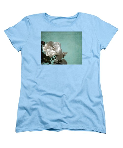 Women's T-Shirt (Standard Cut) featuring the photograph Vintage Inspired White Roses On Aqua Blue Green - by Brooke T Ryan