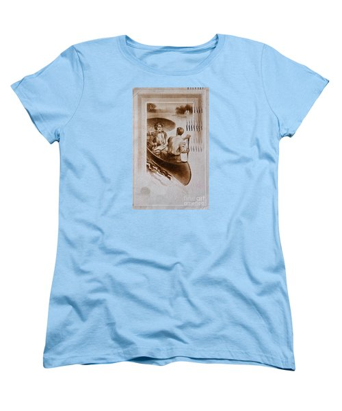 Vintage Post Card Of Couple In Boat Art Prints Women's T-Shirt (Standard Cut) by Valerie Garner