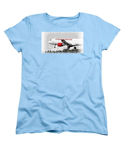Airline Women's T-Shirt (Standard Cut) featuring the photograph Virgin America Mach Daddy  by Aaron Berg
