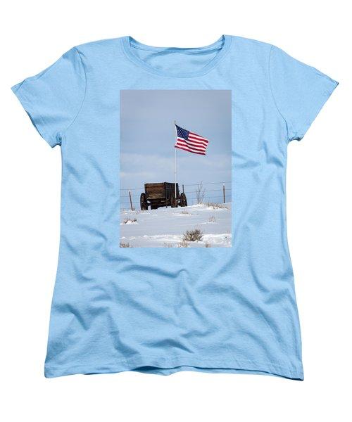 Wagon And Flag Women's T-Shirt (Standard Cut)