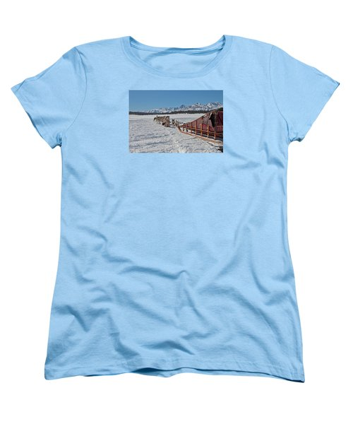Waiting Sled Dogs  Women's T-Shirt (Standard Cut) by Duncan Selby