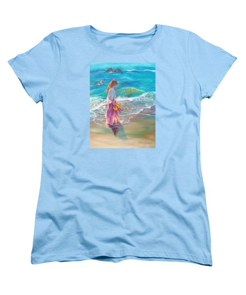 Walking In The Waves Women's T-Shirt (Standard Cut) by Karen Kennedy Chatham