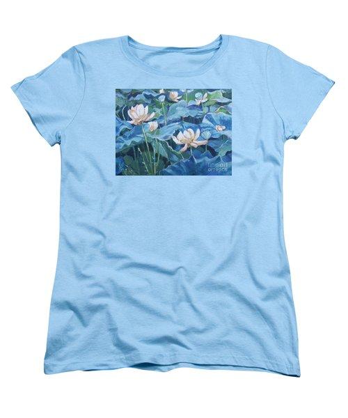 Water Lilies Two Women's T-Shirt (Standard Cut) by Jan Bennicoff
