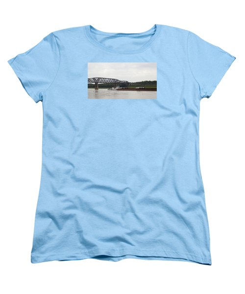 Water Under The Bridge - Towboat On The Mississippi Women's T-Shirt (Standard Cut) by Jane Eleanor Nicholas