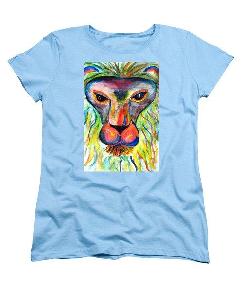 Watercolor Lion Women's T-Shirt (Standard Cut) by Angela Murray
