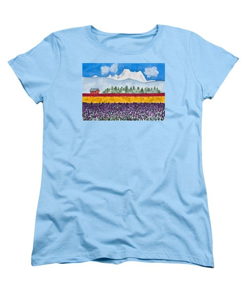 Watercolor Painting Landscape Of Skagit Valley Tulip Fields Art Women's T-Shirt (Standard Cut) by Valerie Garner