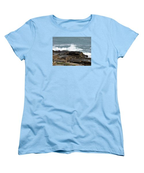 Wave Hitting Rock Women's T-Shirt (Standard Cut) by Catherine Gagne