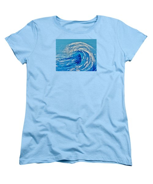 Women's T-Shirt (Standard Cut) featuring the painting Wave by Katherine Young-Beck