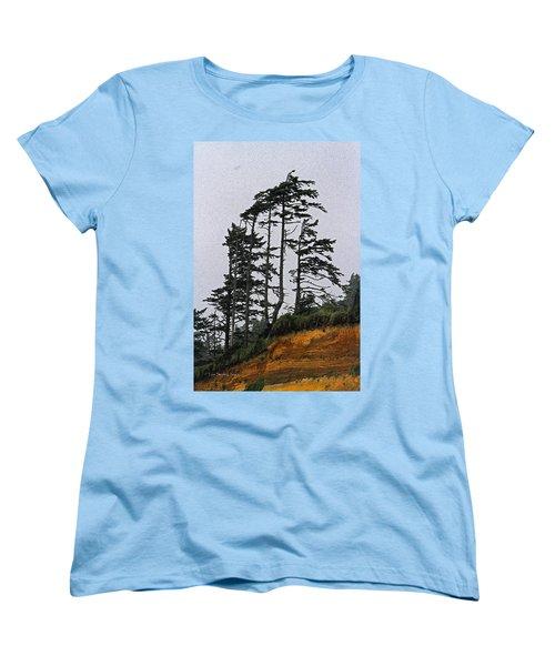 Weathered Fir Tree Above The Ocean Women's T-Shirt (Standard Cut) by Tom Janca