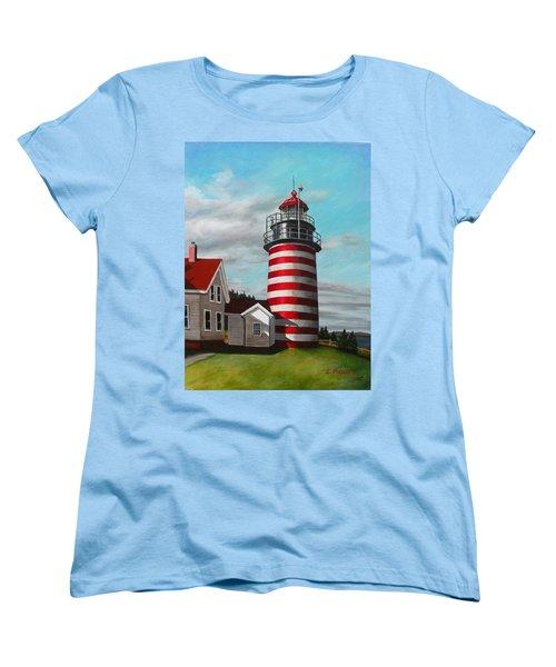 West Quoddy Head Lighthouse Women's T-Shirt (Standard Cut) by Eileen Patten Oliver