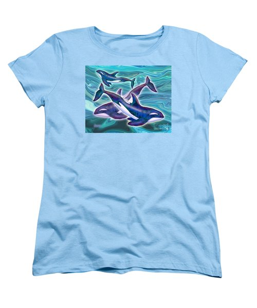Women's T-Shirt (Standard Cut) featuring the mixed media Whale Whimsey by Teresa Ascone