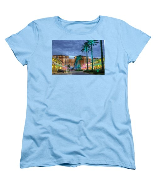 Women's T-Shirt (Standard Cut) featuring the digital art Wharf Turquoise Lighted  by Michael Thomas