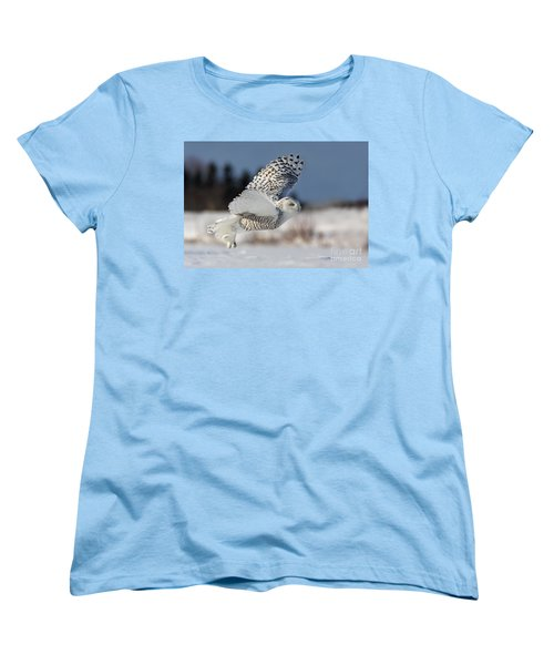 White Angel - Snowy Owl In Flight Women's T-Shirt (Standard Cut) by Mircea Costina Photography