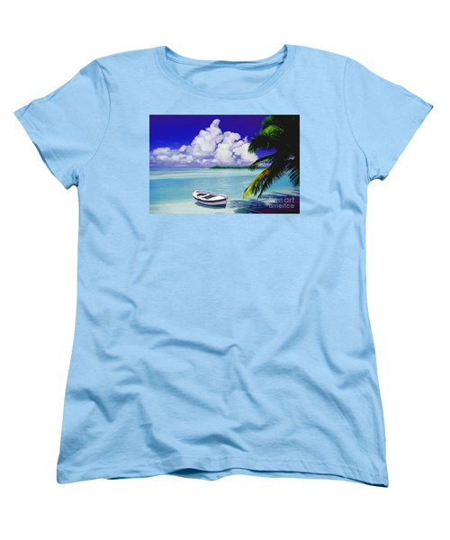 Women's T-Shirt (Standard Cut) featuring the painting White Boat On A Tropical Island by David  Van Hulst