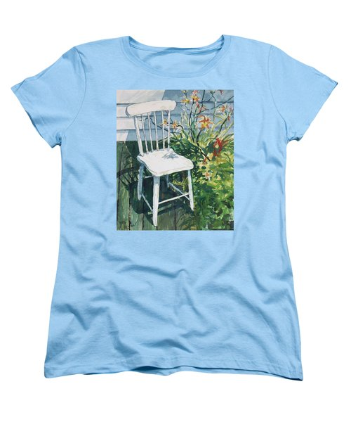 Women's T-Shirt (Standard Cut) featuring the painting White Chair And Day Lilies by Joy Nichols