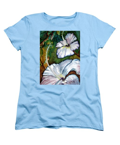 White Hibiscus Women's T-Shirt (Standard Cut) by Lil Taylor