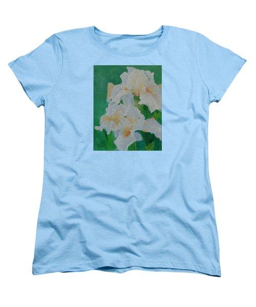 White Irises Original Oil Painting Iris Cluster Beautiful Floral Art Women's T-Shirt (Standard Cut) by Elizabeth Sawyer