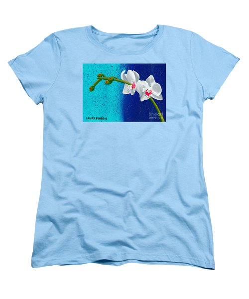 Women's T-Shirt (Standard Cut) featuring the painting White Orchids On Blue by Laura Forde