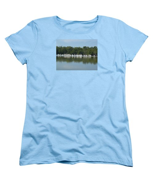 Women's T-Shirt (Standard Cut) featuring the photograph White Pelicans by Robert Nickologianis