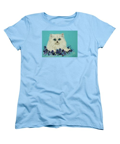 Women's T-Shirt (Standard Cut) featuring the painting White Persian In Pansy Patch Original Forsale by Bob and Nadine Johnston