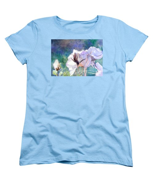 Women's T-Shirt (Standard Cut) featuring the painting White Roses In The Shade by Greta Corens
