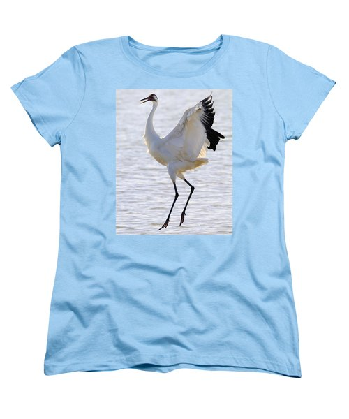 Whooping Crane - Whooping It Up Women's T-Shirt (Standard Cut) by Tony Beck