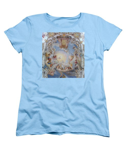 Women's T-Shirt (Standard Cut) featuring the photograph Wies Pilgrimage Church Bavaria Fresko by Rudi Prott