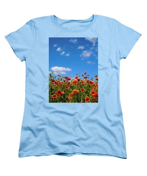 Women's T-Shirt (Standard Cut) featuring the photograph Wild Red Daisies #6 by Robert ONeil