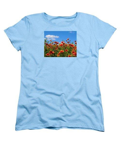 Women's T-Shirt (Standard Cut) featuring the photograph Wild Red Daisies #7 by Robert ONeil
