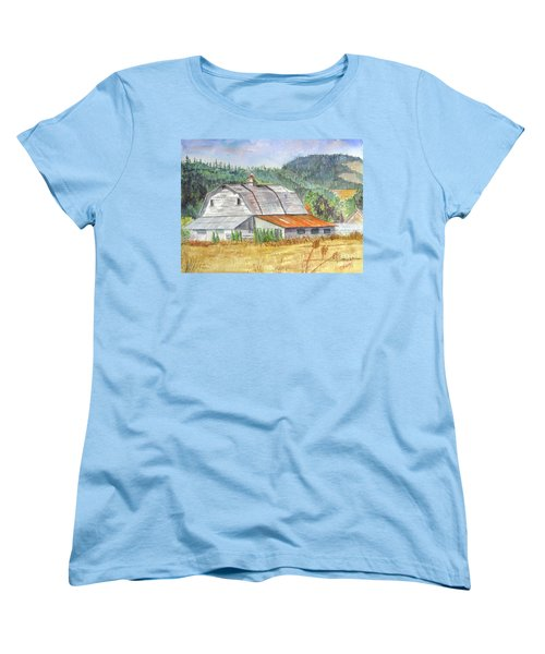 Women's T-Shirt (Standard Cut) featuring the painting Willamette Valley Barn by Carol Flagg