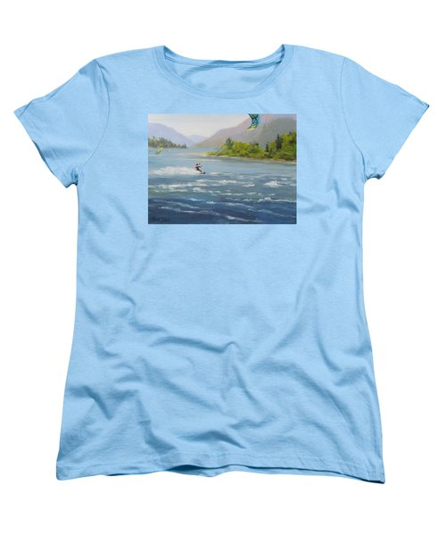 Women's T-Shirt (Standard Cut) featuring the painting Wind And Water by Karen Ilari