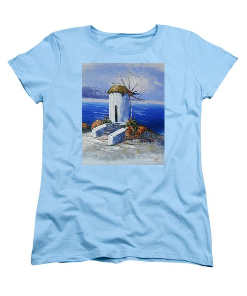 Windmill In Greece Women's T-Shirt (Standard Cut) by Elena  Constantinescu