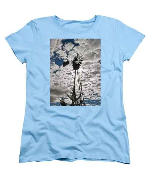Women's T-Shirt (Standard Cut) featuring the digital art Windmill In The Clouds by Cathy Anderson