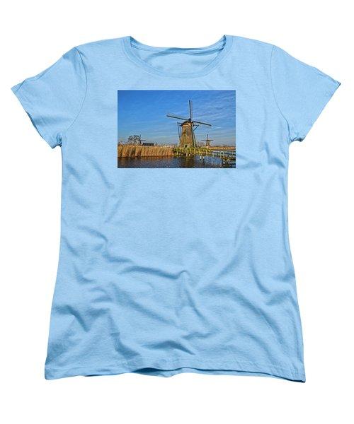 Windmills And Bridge Near Kinderdijk Women's T-Shirt (Standard Cut) by Frans Blok