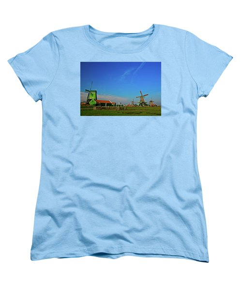 Windmills At Zaanse Schans Women's T-Shirt (Standard Cut) by Jonah  Anderson