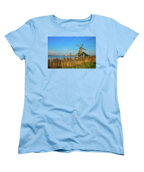 Windmills On De Zaan Women's T-Shirt (Standard Cut) by Jonah  Anderson