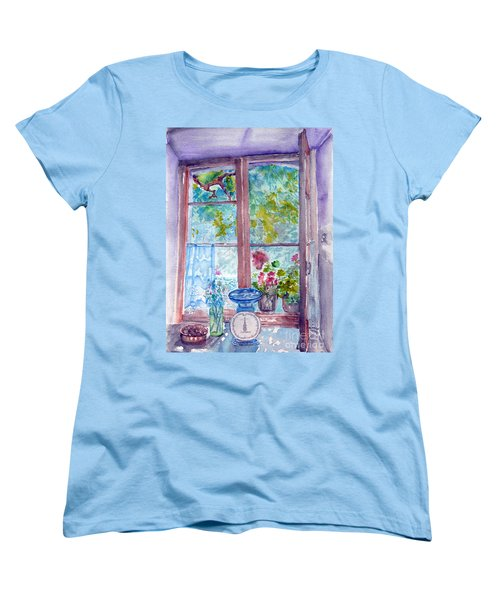 Women's T-Shirt (Standard Cut) featuring the painting Window by Jasna Dragun
