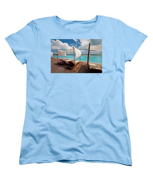 Windy Day At Maldives Women's T-Shirt (Standard Cut) by Jenny Rainbow