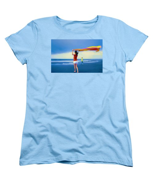 Children Playing On The Beach Women's T-Shirt (Standard Cut) by Vizual Studio