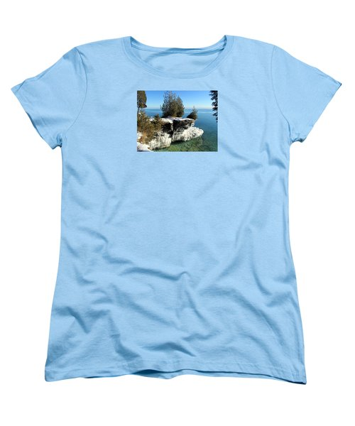 Winter At Cave Point Women's T-Shirt (Standard Cut) by David T  Wilkinson